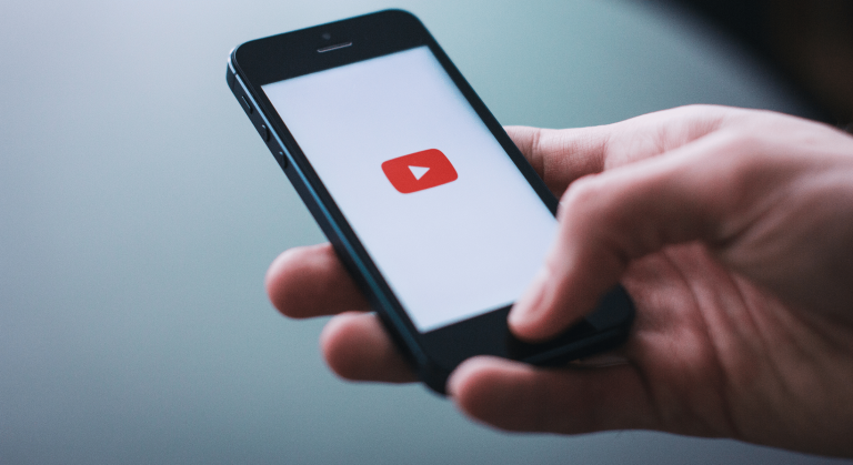 Smart phone with YouTube logo
