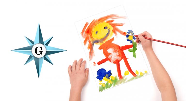 Glebe logo with kids painting